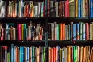 libros en estantería