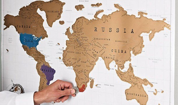 mapa para rascar como regalo de despedida por viaje