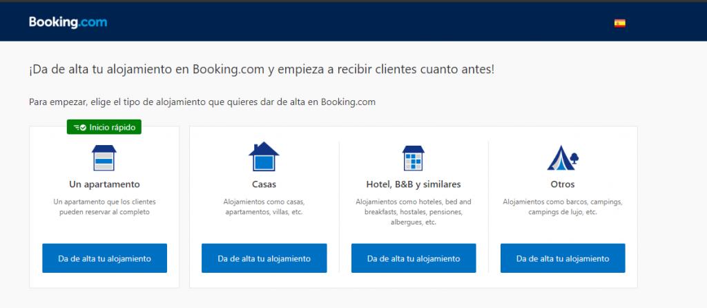 Elegir tipo de propiedad - cómo anunciar mi apartamento en booking