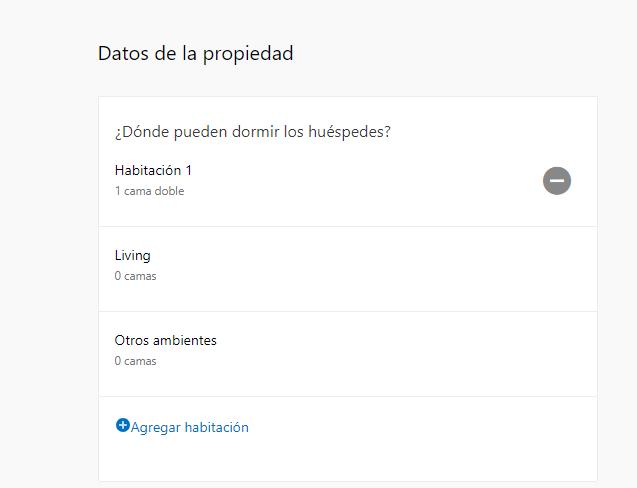 Formulario de datos de la propiedad, cantidad de habitaciones y tipos de ambiente - cómo anunciar mi apartamento en booking