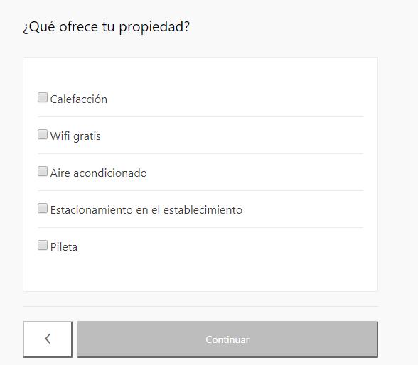 Formulario demás prestaciones de la propiedad, wifi, estacionamiento, calefacción, etc. - cómo anunciar mi apartamento en booking