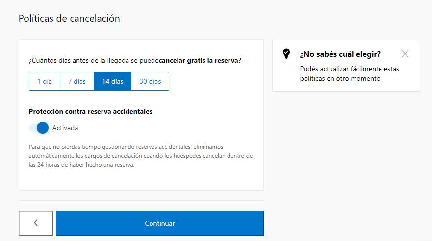 Formulario de políticas de cancelación - cómo anunciar mi apartamento en booking