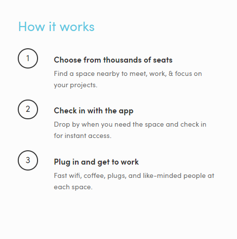Cómo funciona Croissant para encontrar un coworking barato en madrid. Tres simples pasos, elegis entre miles de asientos, haces el check in, y te ponés a trabajar