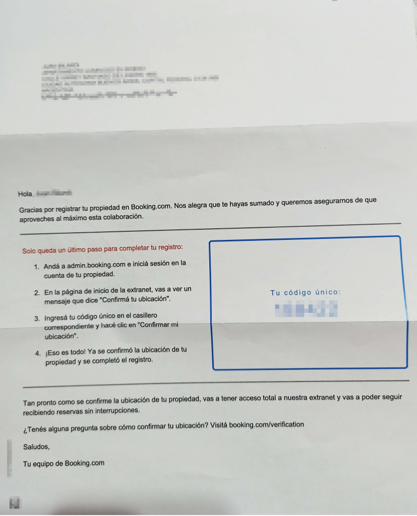 carta recibida con codigo de verificación de propiedad - post cómo publicar mi apartamento en booking